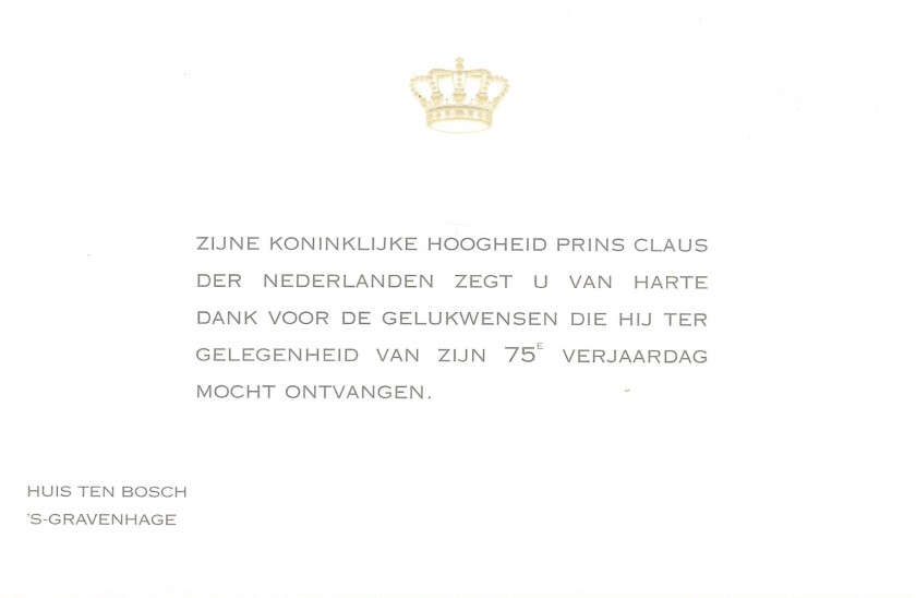 Claus, The Prince Consort of the Netherlands 75th Birthday