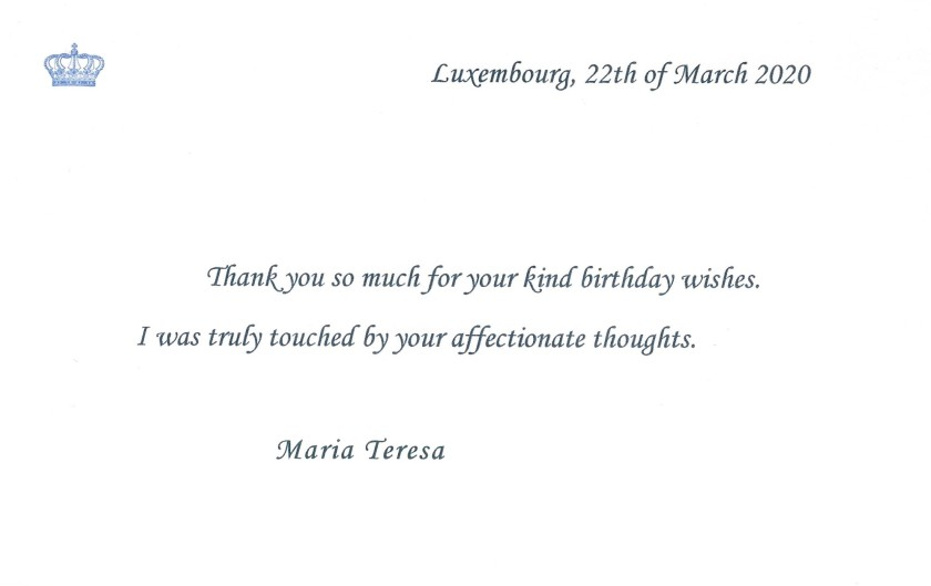 Grand Duchess of Luxembourg 64th Birthday Card