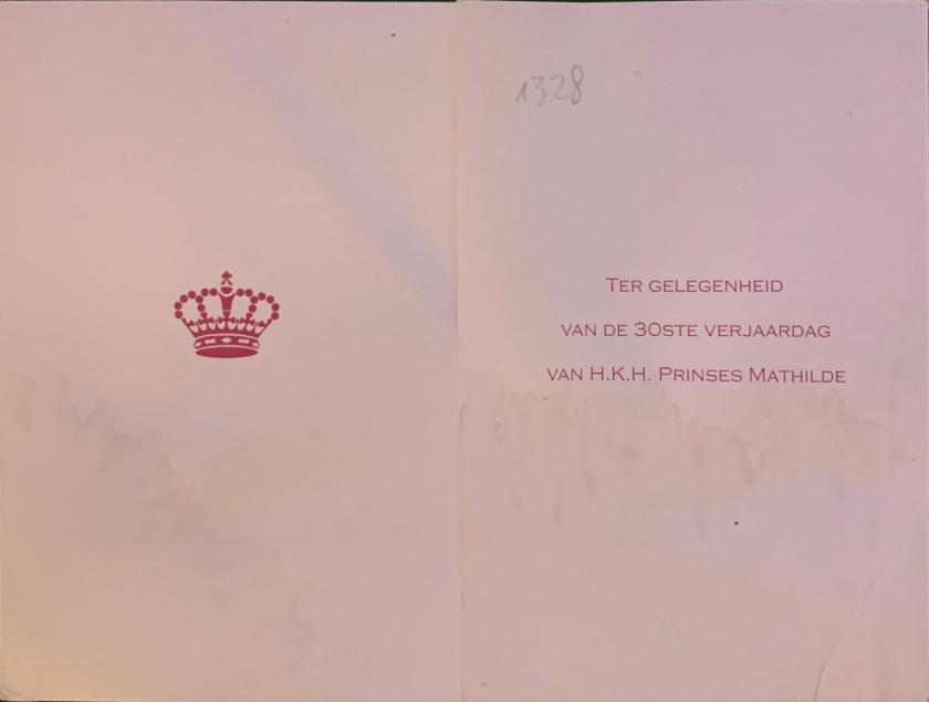 Mathilde, Duchess of Brabant 3oth Birthday Card Front