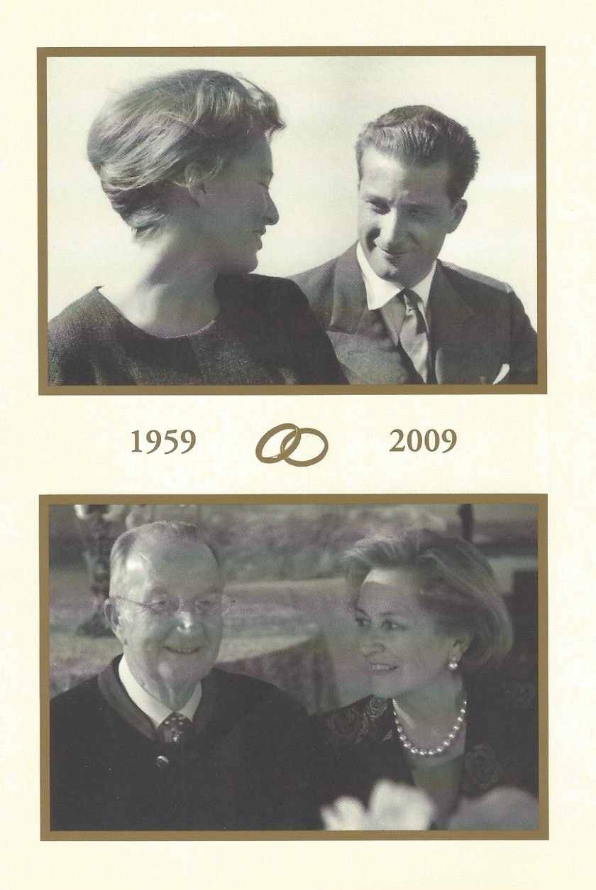 King Alebert II and Queen Paola of Belgium 50th Wedding Anniversary Card Front