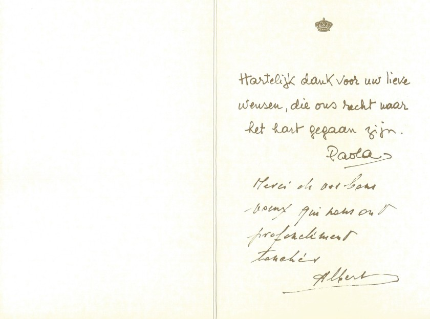 King Alebert II and Queen Paola of Belgium 50th Wedding Anniversary Card Inside