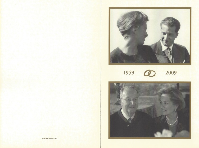 King Alebert II and Queen Paola of Belgium 50th Wedding Anniversary Card Outside