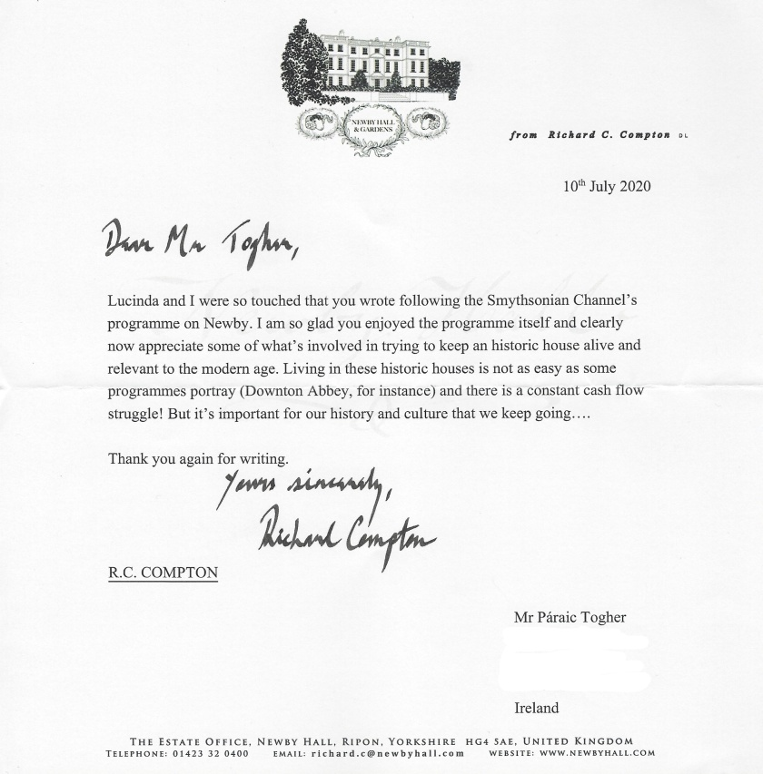 Letter from Richard Compton Newby Hall_LI