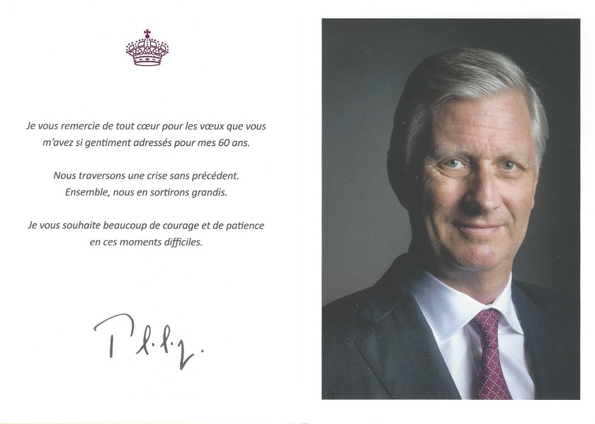 Philippe King of The Belgians 60th Birthday Card Inside