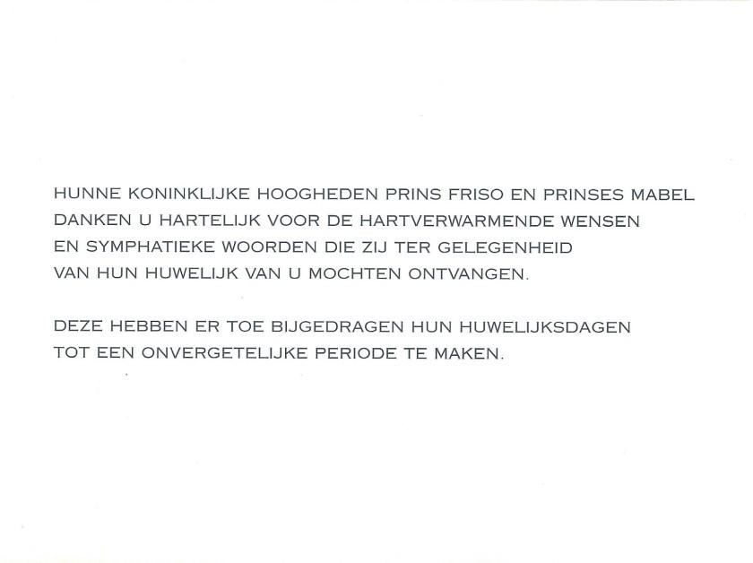 Prince Friso and Princess Mabel Wedding Message