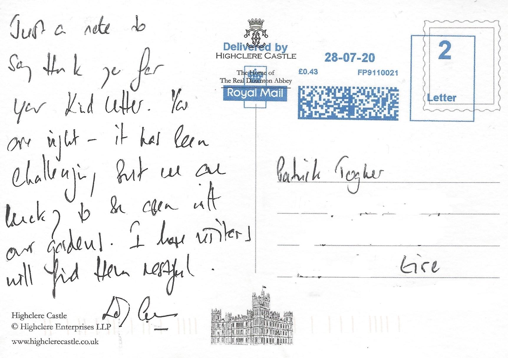 Lord and Lady Carnarvon postcard Message_LI