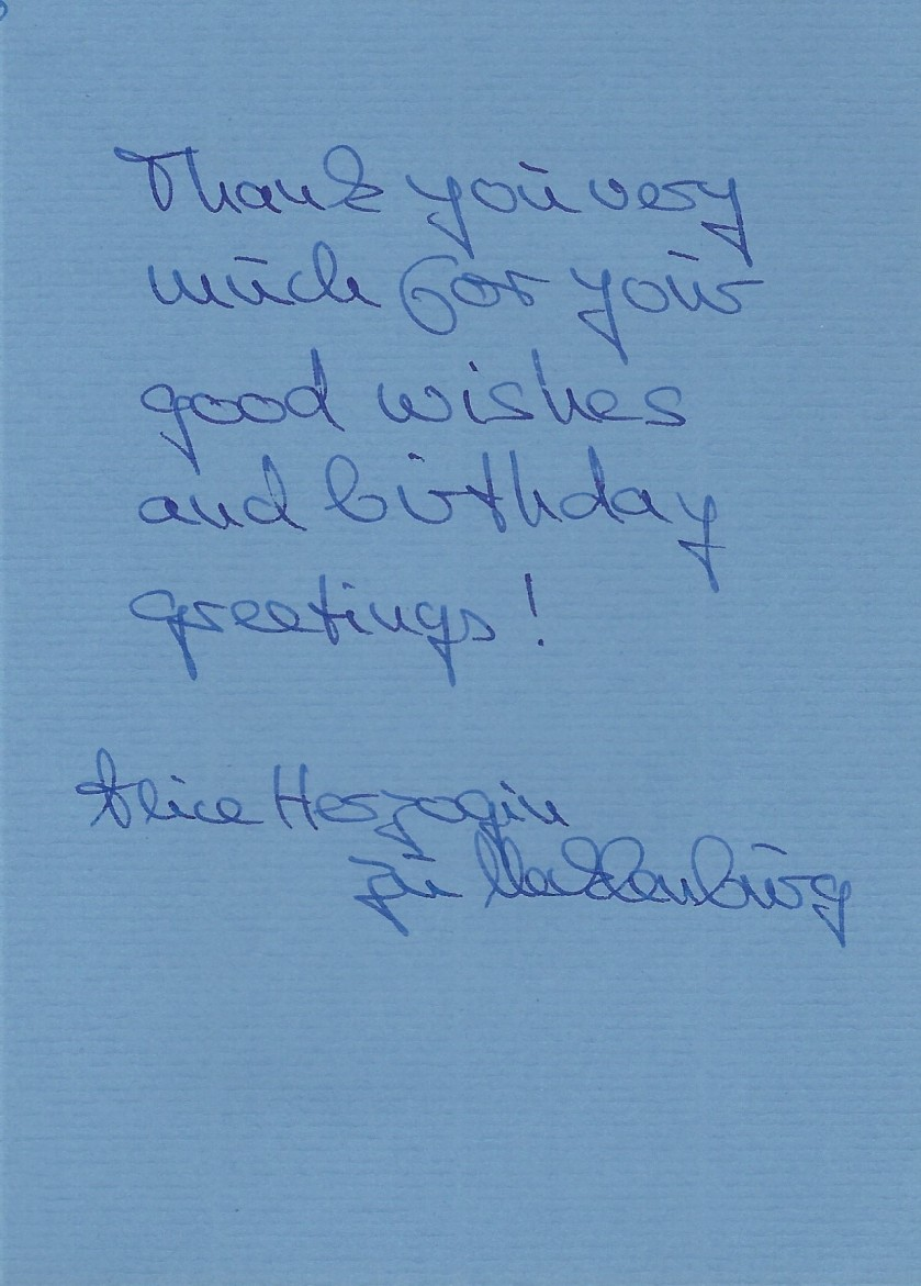 Mecklenburg Card Duchess Card Message