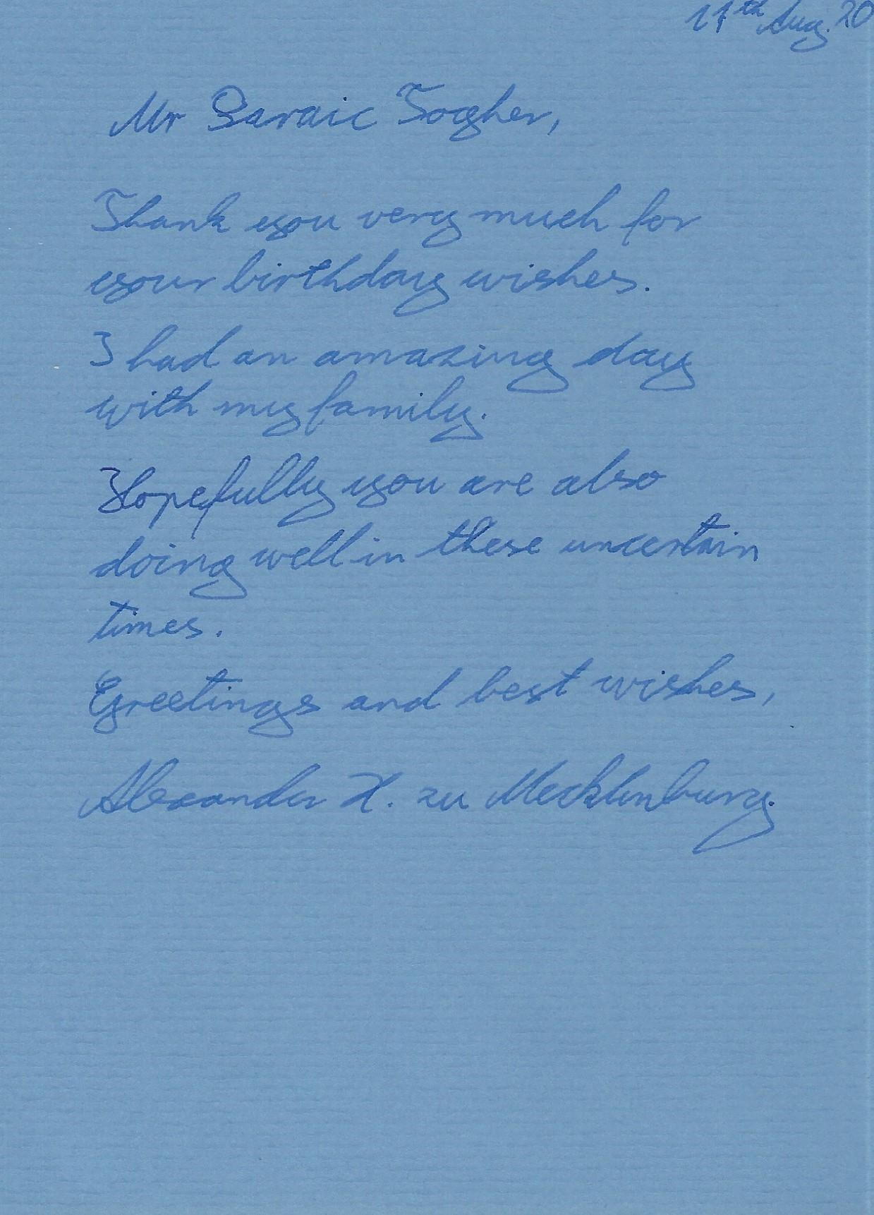 Mecklenburg Card Hereditary Prince Message