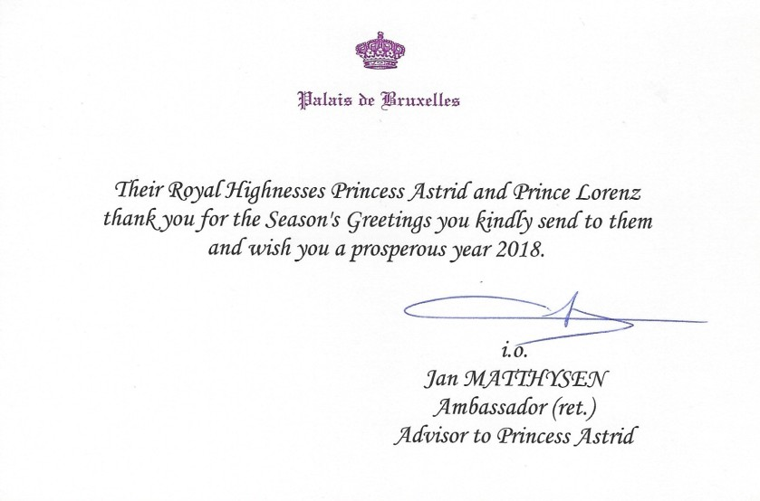 Prince Lorenz and Princess Astrid of Belgium Christmas Card