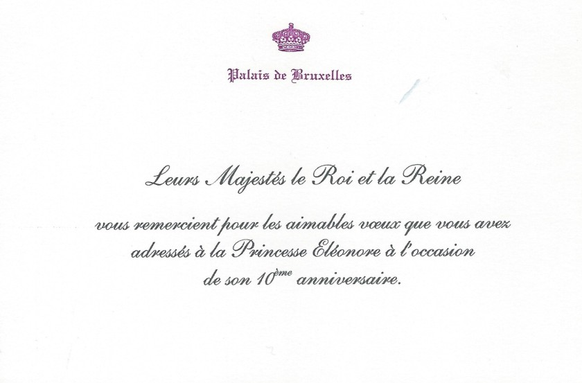 Princess Eléonore of Belgium 10th Birthday Card