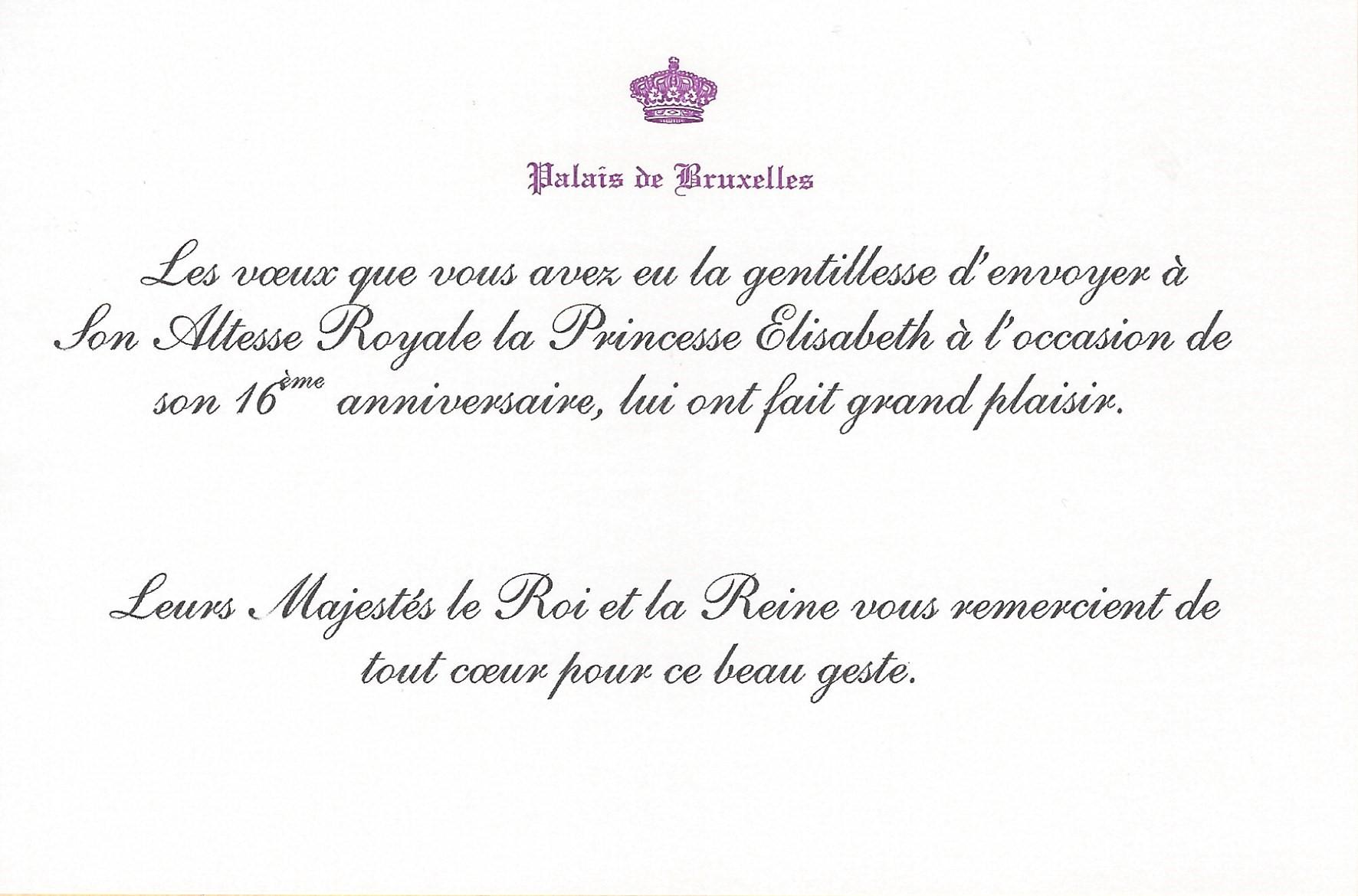 Princess Elisabeth, The Duchess of Brabant's 16th Birthday card