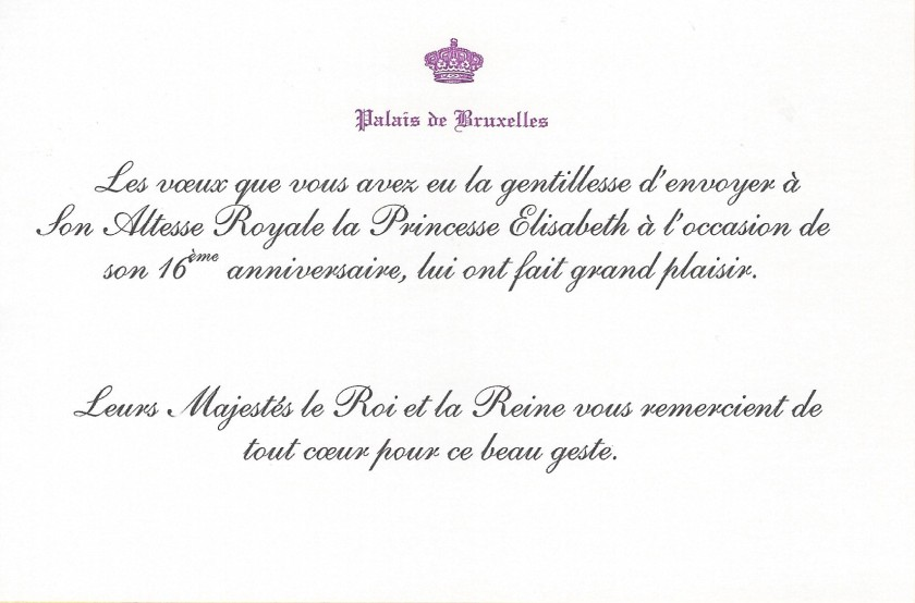 Princess Elisabeth, The Duchess of Brabant's 16th Birthday card